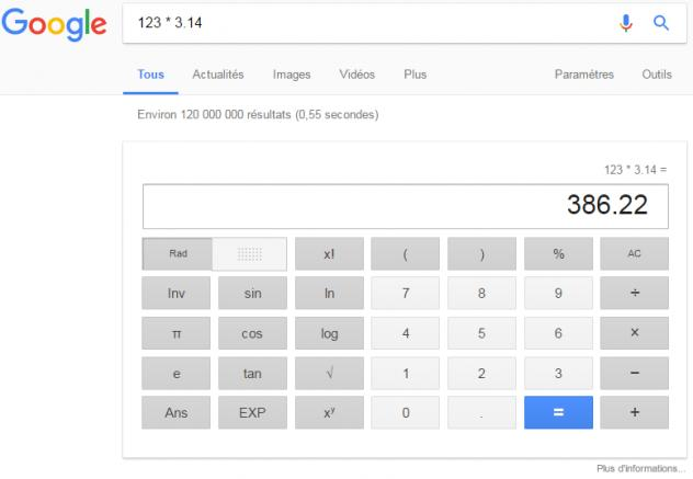application calculatrice recherche Google